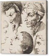 Studies Of Heads Anonimo, Blooteling Abraham Acrylic Print