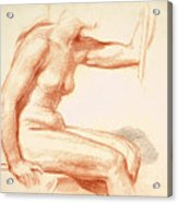 Study Of A Female Nude Seated Acrylic Print