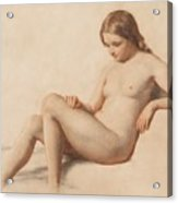 Study Of A Nude Acrylic Print by William Mulready