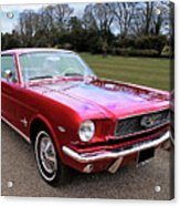 Stunning 1966 Metallic Red Mustang Acrylic Print