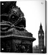 Sturgeon Lamp Post With Big Ben London Black And White Acrylic Print