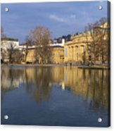 Stuttgart State Theater Beautiful Reflection In Blue Water Acrylic Print