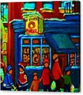 St.viateur Bagel And Hockey Kids Acrylic Print
