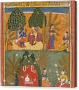 Style Of Manohar    Krishna And Radha With Their Confidantes Page From A Dispersed Gita Govinda Acrylic Print