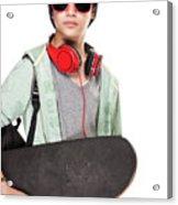 Stylish Boy With Skateboard Acrylic Print