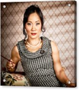 Stylish Vintage Asian Pin-up Lady With Cigarette Acrylic Print by Jorgo Photography - Wall Art Gallery