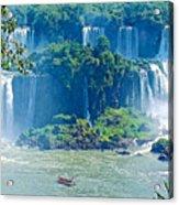 Subtropical Vegetation Surrounds Waterfalls In Iguazu Falls National Park-brazil Acrylic Print