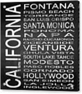 Subway California State 5 Square Acrylic Print