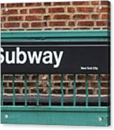 Subway Sign In New York City Acrylic Print