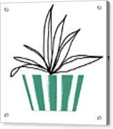Succulent In Green Pot 3- Art By Linda Woods Acrylic Print