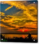 Summer Sunset Over The Delaware River Acrylic Print