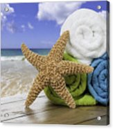 Summer Beach Towels Acrylic Print by Amanda Elwell