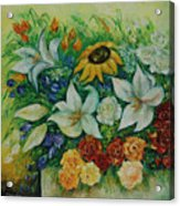 Summer Bouquet - Left Part Of Diptych. Acrylic Print