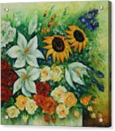 Summer Bouquet - Right Part Of Diptych. Acrylic Print