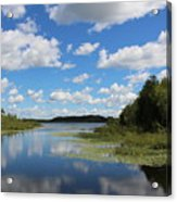 Summer Cloud Reflections On Little Indian Pond In Saint Albans Maine Acrylic Print