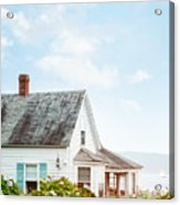 Summer Cottage And Flowers By The Ocean Acrylic Print