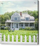 Summer Cottage And White Picket Fence With Flowers Acrylic Print