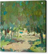 Summer Day In City Park. Trees Acrylic Print
