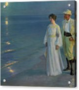 Summer Evening On The Beach At Skagen The Artist And His Wife Acrylic Print