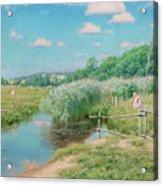 Summer Landscape With Children Acrylic Print