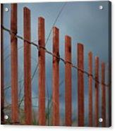Summer Storm Beach Fence Acrylic Print