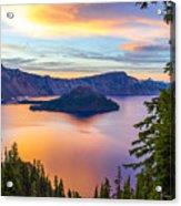 Sunset At Crater Lake, Oregon Acrylic Print
