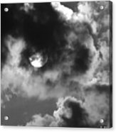 Sun And Clouds - Grayscale Acrylic Print