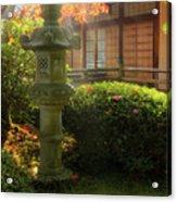 Sun Beams Over Japanese Stone Lantern Acrylic Print