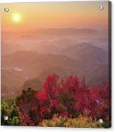 Sun Burst, Cherry Blossoms And Mountain Layers Acrylic Print