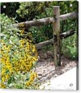 Sun Flower Fence Acrylic Print
