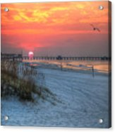 Sun Over Sea N Suds And Pier Large Acrylic Print