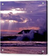 Sun Pokes Though Clouds By Stormy Sea Acrylic Print