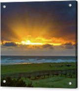 Sun Rays At Long Beach Washington During Sunset Acrylic Print
