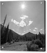 Sun Rays In Yellowstone Bw Acrylic Print