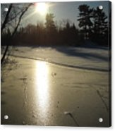 Sun Reflecting Off River Ice Acrylic Print