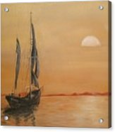 Sun Set On The Water. Acrylic Print