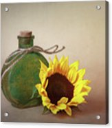 Sunflower And Green Glass Still Life Acrylic Print