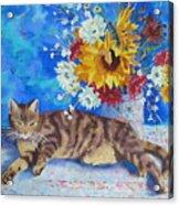 Sunflower Cat Acrylic Print