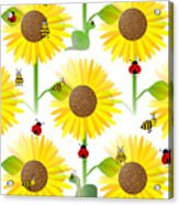 Sunflowers And Bees Acrylic Print