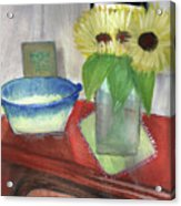 Sunflowers And Blue Bowls Acrylic Print