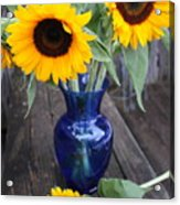 Sunflowers And Blue Vase - Still Life Acrylic Print