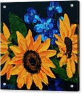 Sunflowers And Delphinium Acrylic Print