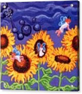 Sunflowers And Faeries Acrylic Print by Genevieve Esson
