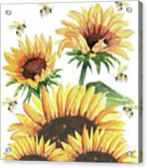 Sunflowers And Honey Bees Acrylic Print