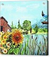 Sunflowers And Jaybird Acrylic Print