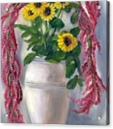 Sunflowers And Love Lies Bleeding Acrylic Print