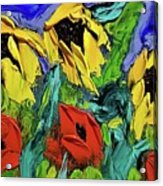 Sunflowers And Poppies - Little Treasures Series Acrylic Print