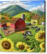 Sunflowers Cows Appalachian Farm Landscape - Rural Americana - Farm Animals - 1950 Farm Life - Barn Acrylic Print