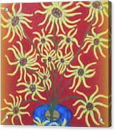 Sunflowers In A Blue Vase Acrylic Print