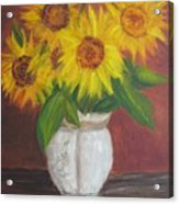 Sunflowers In A Clay Pot Acrylic Print